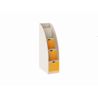 Лестница-комод Дуб молочный/Оранжевый