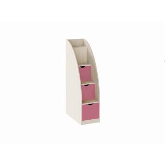 Лестница-комод Дуб молочный/Розовый