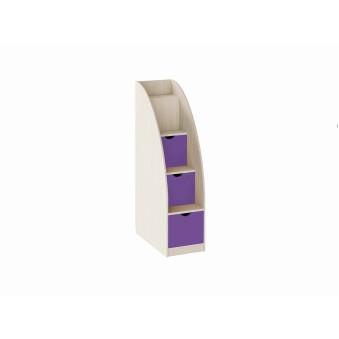 Лестница-комод Дуб молочный/Фиолетовый