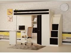Кровать-чердак М-85 с лестницей комодом Дуб молочный - Венге