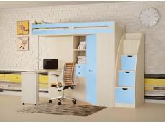 Кровать-чердак М-85 с лестницей комодом Дуб молочный - Голубой
