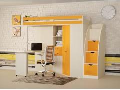 Кровать-чердак М-85 с лестницей комодом Дуб молочный - Оранжевый