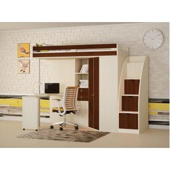 Кровать-чердак М-85 с лестницей комодом Дуб молочный - Орех