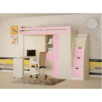 Кровать-чердак М-85 с лестницей комодом Дуб молочный - Розовый