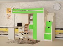 Кровать-чердак М-85 с лестницей комодом Дуб молочный - Салатовый