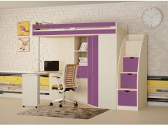 Кровать-чердак М-85 с лестницей комодом Дуб молочный - Фиолетовый