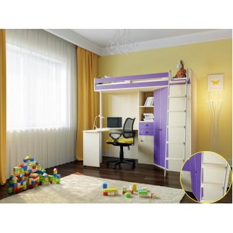 Кровать-чердак М-85 Дуб молочный - Фиолетовый