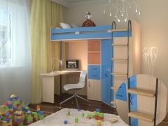 Кровать-чердак М-85 Дуб молочный - Голубой