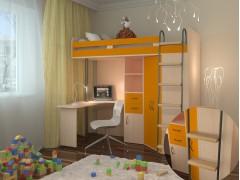 Кровать-чердак М-85 Дуб молочный - Оранжевый