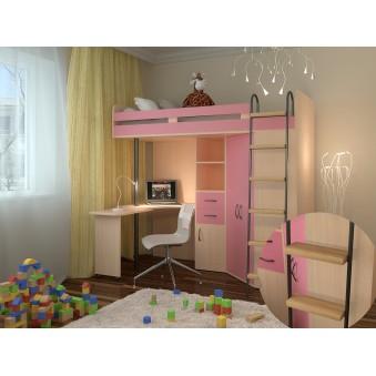 Кровать-чердак М-85 Дуб молочный - Розовый