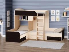 Двухъярусная кровать Трио Дуб молочный - Венге