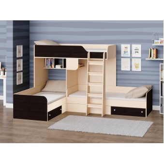 Детская двухъярусная кровать Трио Дуб молочный - Венге