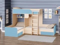 Двухъярусная кровать Трио Дуб молочный - Голубой