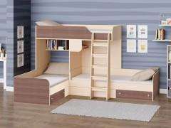 Двухъярусная кровать Трио Дуб молочный - Дуб шамони