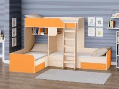 Двухъярусная кровать Трио Дуб молочный - Оранжевый