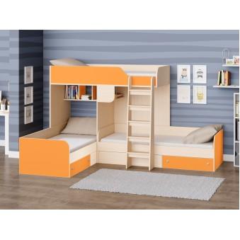 Детская двухъярусная кровать Трио Дуб молочный - Оранжевый