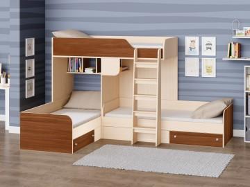 Детская двухъярусная кровать Трио Дуб молочный - Орех