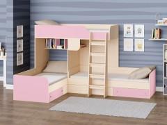 Двухъярусная кровать Трио Дуб молочный - Розовый