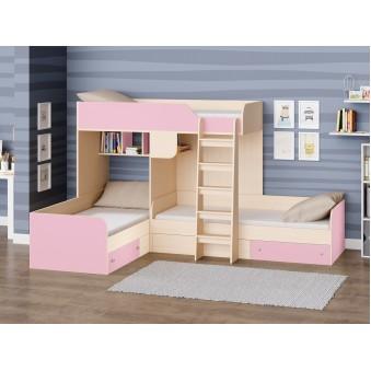 Детская двухъярусная кровать Трио Дуб молочный - Розовый