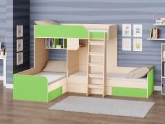 Двухъярусная кровать Трио Дуб молочный - Салатовый