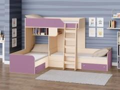 Двухъярусная кровать Трио Дуб молочный - Фиолетовый