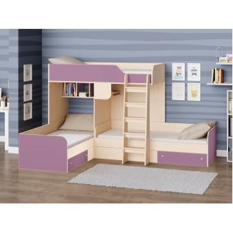 Детская двухъярусная кровать Трио Дуб молочный - Фиолетовый