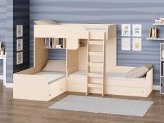 Двухъярусная кровать Трио Дуб молочный полностью