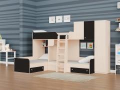 Двухъярусная кровать Трио/2 Дуб молочный - Венге