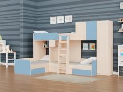 Двухъярусная кровать Трио/2 Дуб молочный - Голубой
