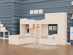 Двухъярусная кровать Трио/2 Дуб молочный полностью