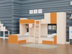 Двухъярусная кровать Трио/2 Дуб молочный - Оранжевый