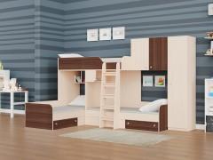 Двухъярусная кровать Трио/2 Дуб молочный - Орех