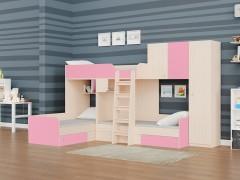 Двухъярусная кровать Трио/2 Дуб молочный - Розовый