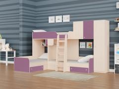 Двухъярусная кровать Трио/2 Дуб молочный - Фиолетовый