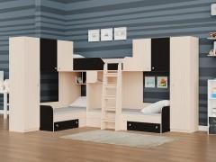 Двухъярусная кровать Трио/3 Дуб молочный - Венге