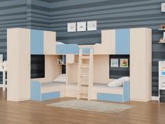 Двухъярусная кровать Трио/3 Дуб молочный - Голубой