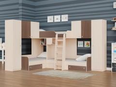 Двухъярусная кровать Трио/3 Дуб молочный - Дуб шамони