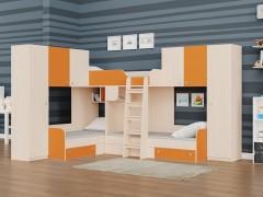 Двухъярусная кровать Трио/3 Дуб молочный - Оранжевый