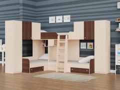 Двухъярусная кровать Трио/3 Дуб молочный - Орех