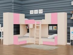 Двухъярусная кровать Трио/3 Дуб молочный - Розовый