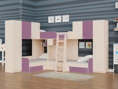 Двухъярусная кровать Трио/3 Дуб молочный - Фиолетовый